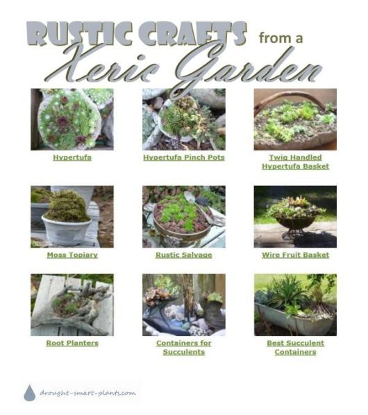 Rustic Crafts from a Xeric Garden; twigs, hypertufa, rustic salvage