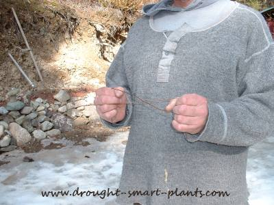 Dowsing for water with two pieces of wire
