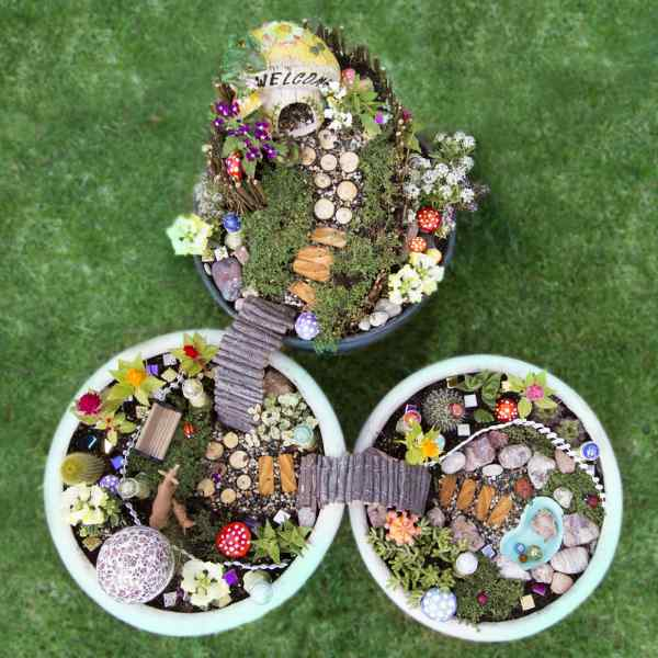 Three Fairy Gardens In A Birds Eye View