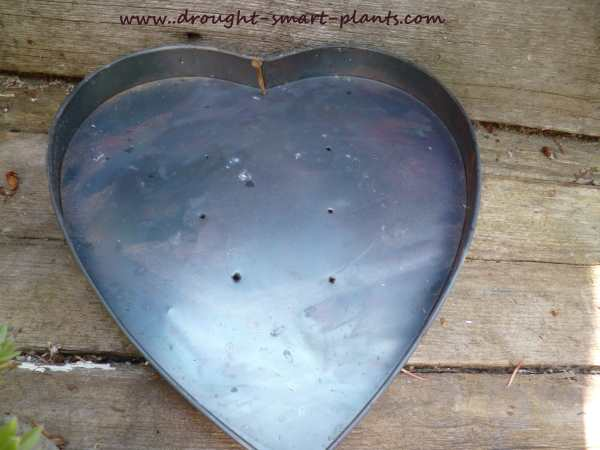 Heart shaped tin after being burned in the bonfire