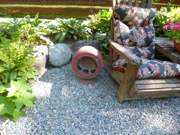 Shady seating area, accented with junk
