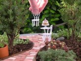 See more on Garden Therapy about this adorable miniature patio garden...