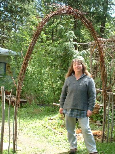 Jacki, in the rustic archway