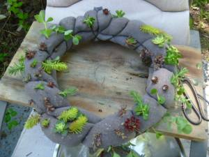 grey succulent wreath made with panty hose