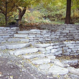 Urbanite recycled concrete walls and steps